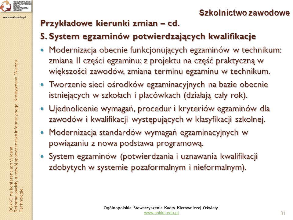 Przykładowe kierunki zmian – cd.