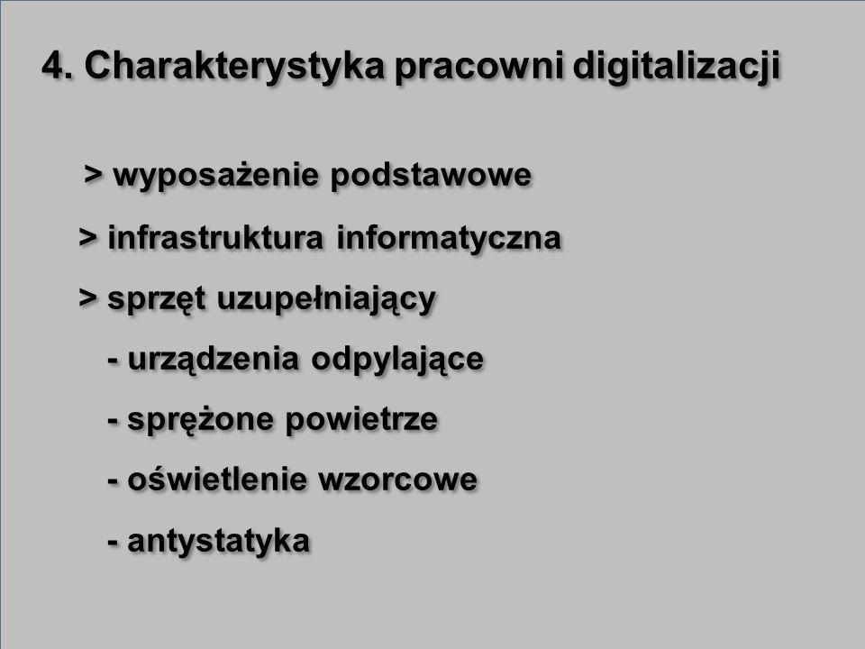 4. Charakterystyka pracowni digitalizacji > wyposażenie podstawowe