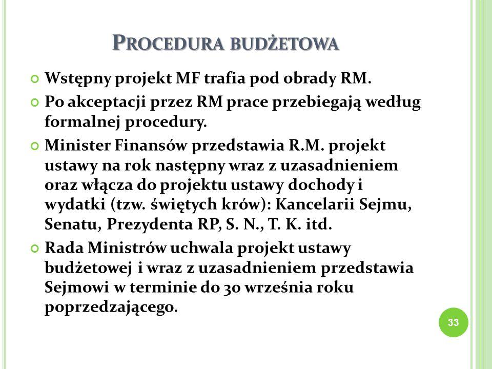 Procedura budżetowa Wstępny projekt MF trafia pod obrady RM.