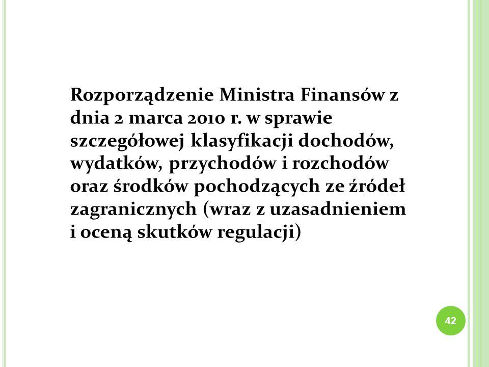 Rozporządzenie Ministra Finansów z dnia 2 marca 2010 r