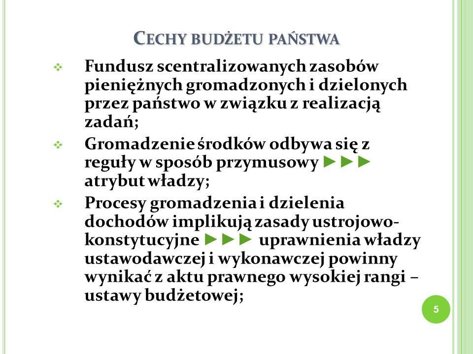 Cechy budżetu państwa Fundusz scentralizowanych zasobów pieniężnych gromadzonych i dzielonych przez państwo w związku z realizacją zadań;