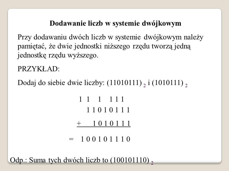 Dodawanie liczb w systemie dwójkowym