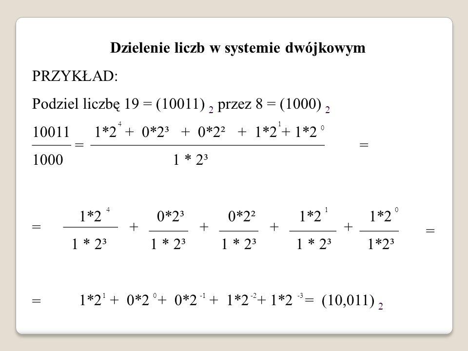 Dzielenie liczb w systemie dwójkowym