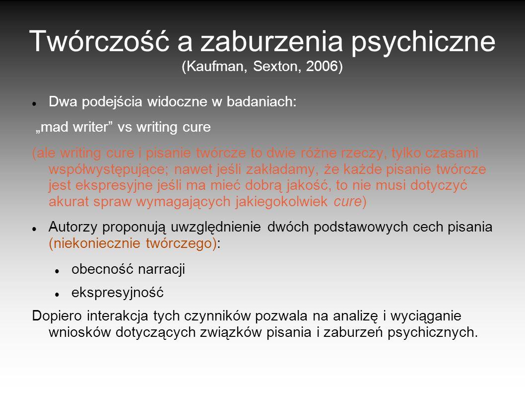 Twórczość a zaburzenia psychiczne (Kaufman, Sexton, 2006)