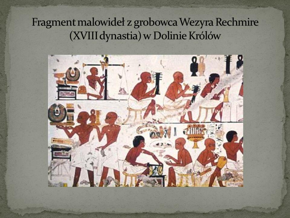 Fragment malowideł z grobowca Wezyra Rechmire (XVIII dynastia) w Dolinie Królów