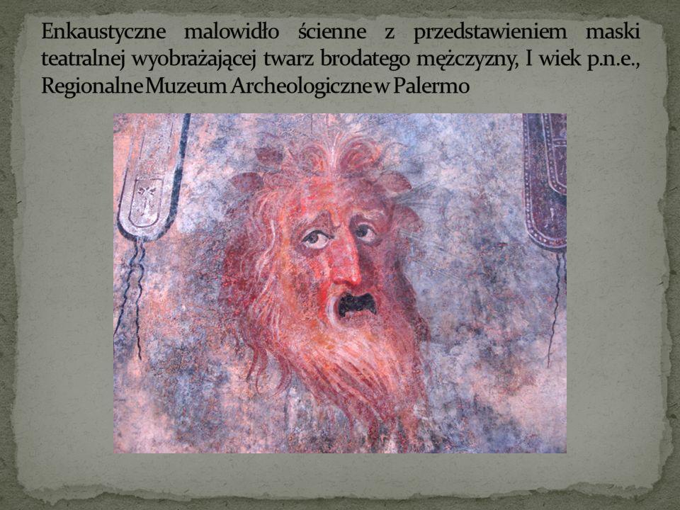 Enkaustyczne malowidło ścienne z przedstawieniem maski teatralnej wyobrażającej twarz brodatego mężczyzny, I wiek p.n.e., Regionalne Muzeum Archeologiczne w Palermo