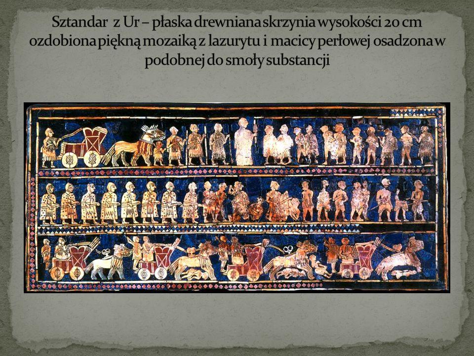 Sztandar z Ur – płaska drewniana skrzynia wysokości 20 cm ozdobiona piękną mozaiką z lazurytu i macicy perłowej osadzona w podobnej do smoły substancji