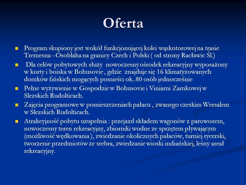 Oferta Program skupiony jest wokół funkcjonującej kolei wąskotorowej na trasie Tremesna –Osoblaha na granicy Czech i Polski ( od strony Racławic Śl.)