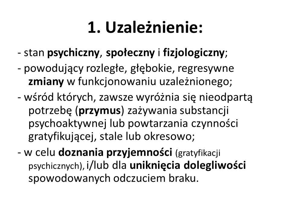 1. Uzależnienie: - stan psychiczny, społeczny i fizjologiczny;