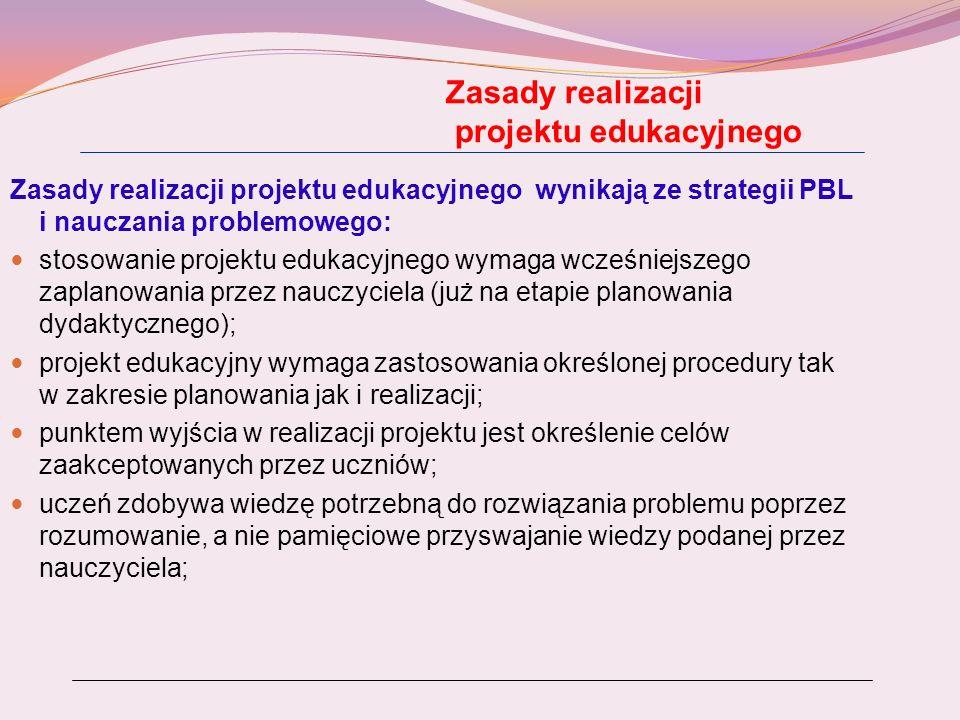 Zasady realizacji projektu edukacyjnego