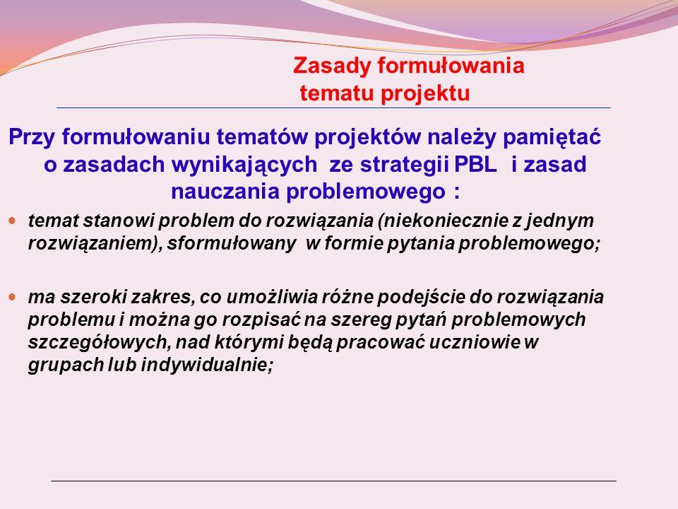 Zasady formułowania tematu projektu