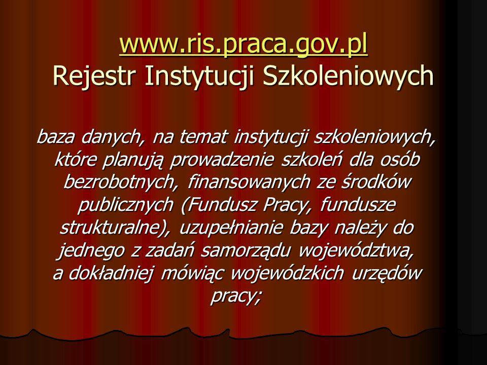 www.ris.praca.gov.pl Rejestr Instytucji Szkoleniowych