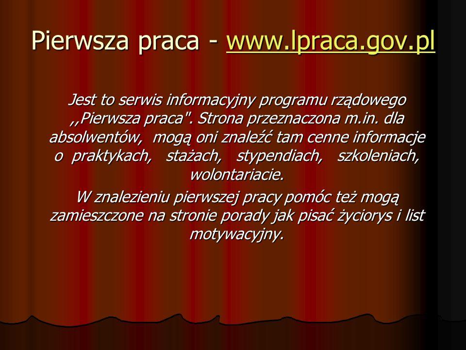 Pierwsza praca - www.lpraca.gov.pl