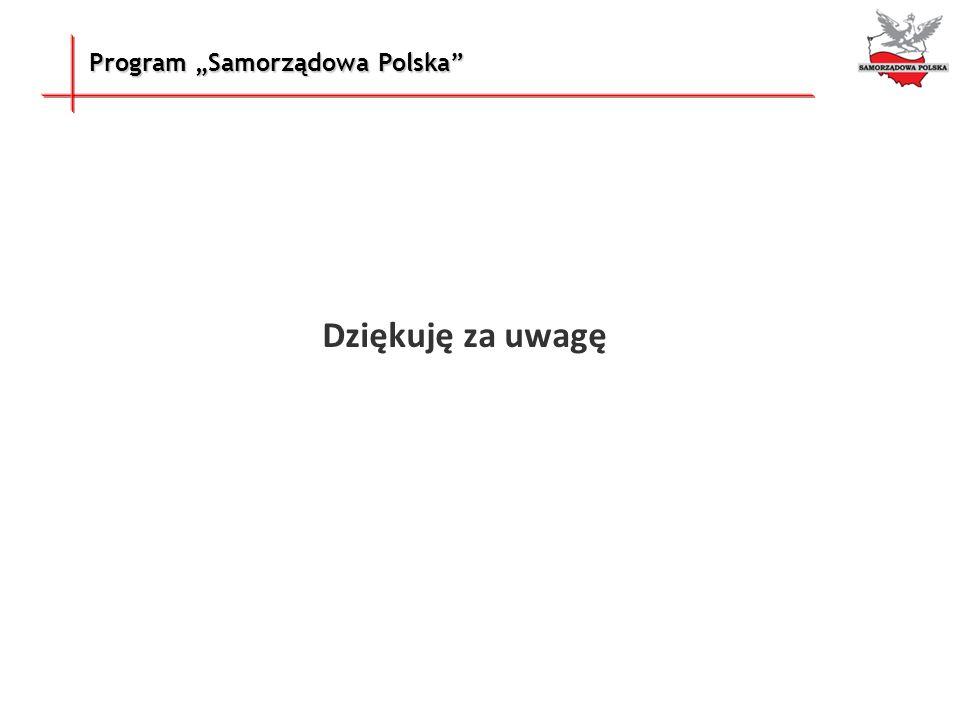 """Dziękuję za uwagę Program """"Samorządowa Polska"""