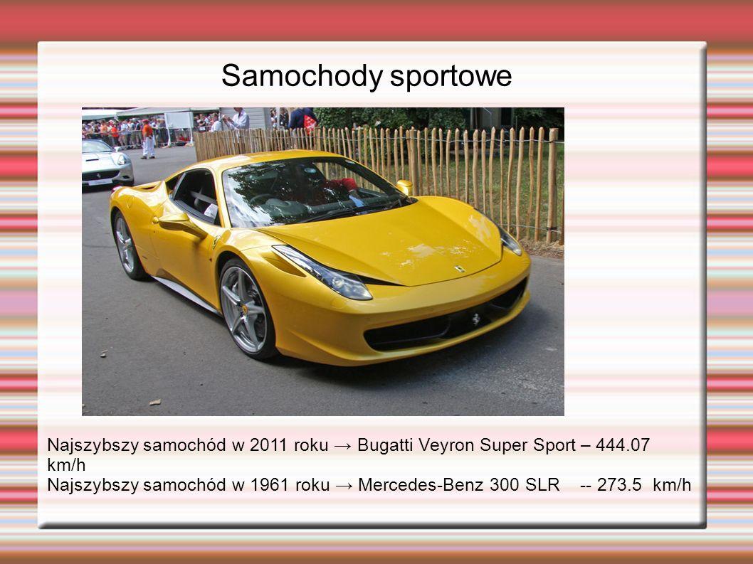 Samochody sportowe Najszybszy samochód w 2011 roku → Bugatti Veyron Super Sport – 444.07 km/h.