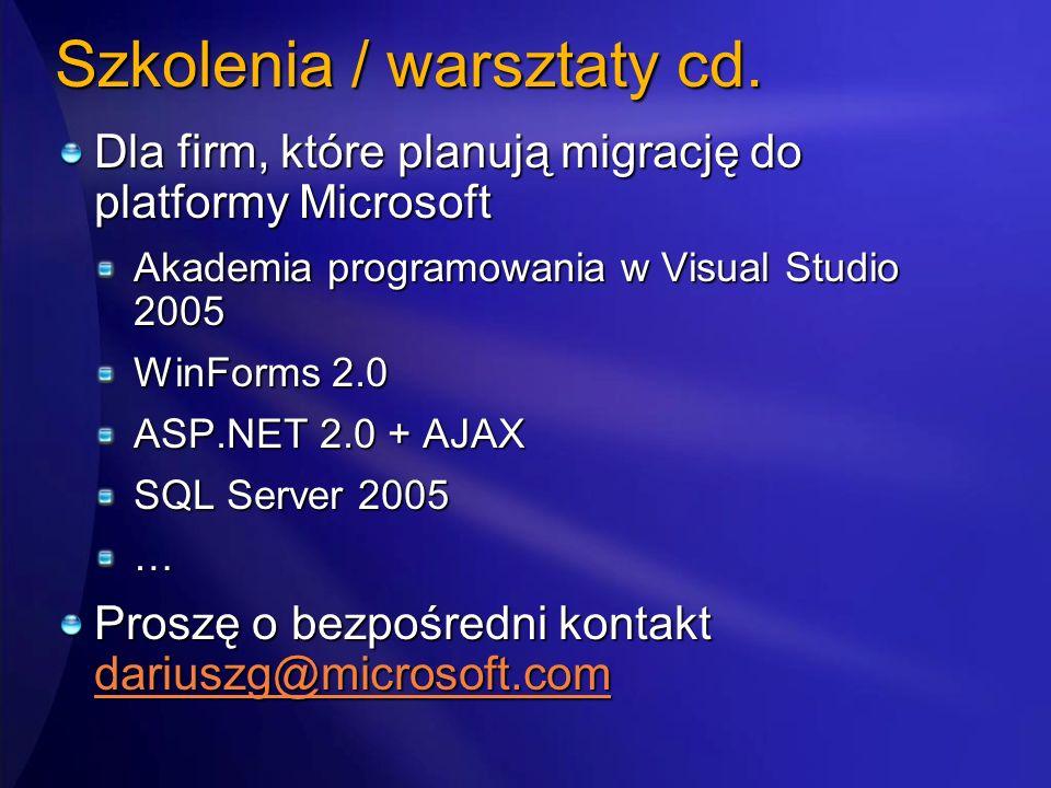 Szkolenia / warsztaty cd.