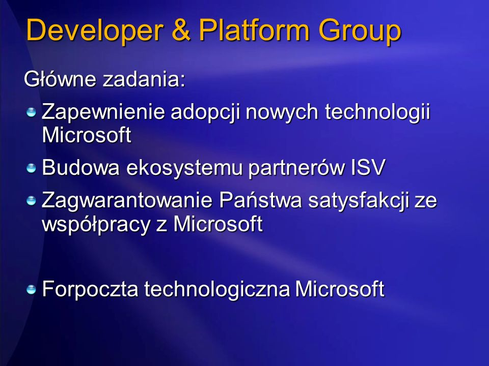 Developer & Platform Group