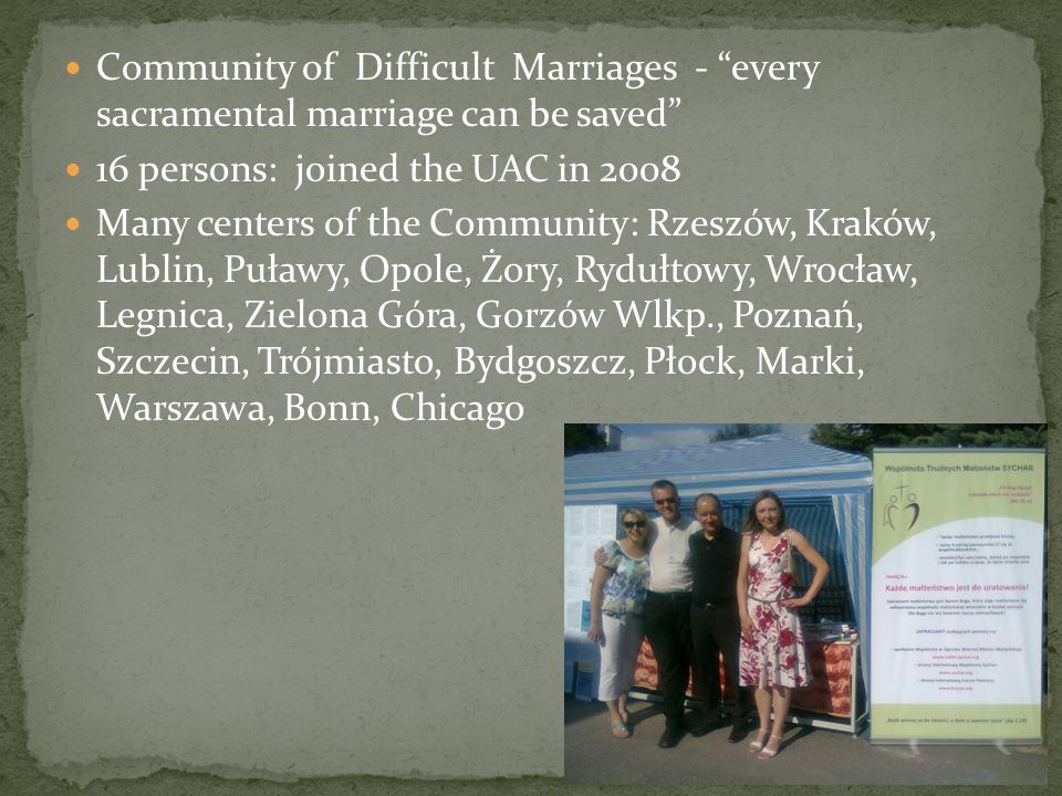 Community of Difficult Marriages - every sacramental marriage can be saved