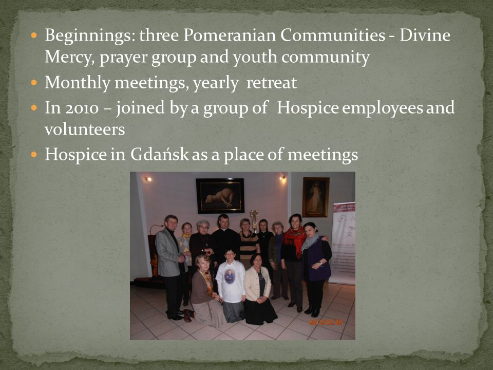 Beginnings: three Pomeranian Communities - Divine Mercy, prayer group and youth community