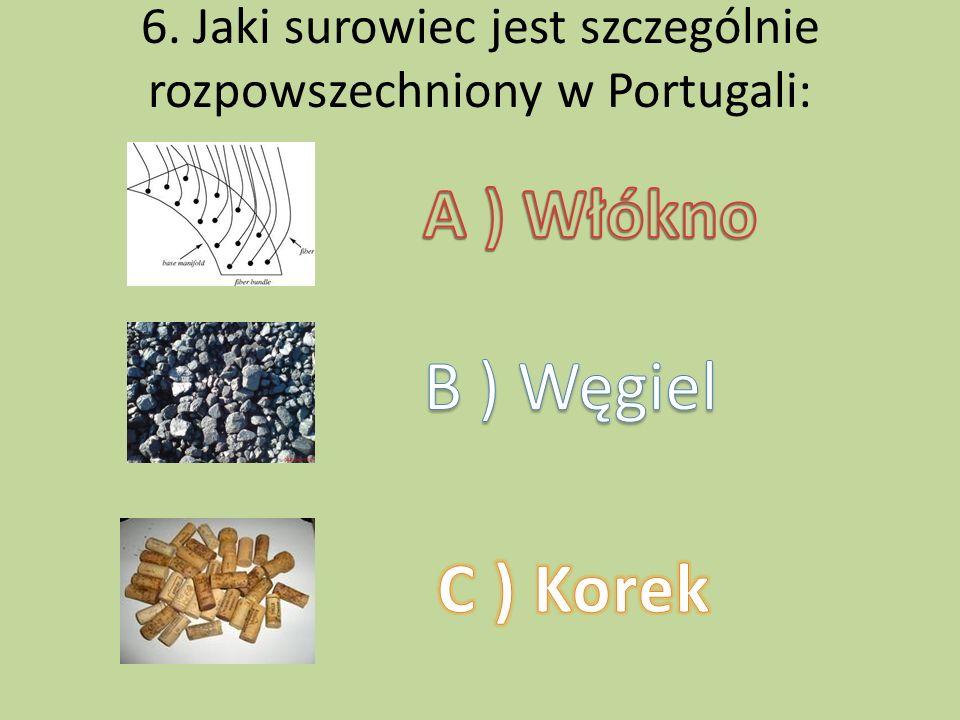 6. Jaki surowiec jest szczególnie rozpowszechniony w Portugali: