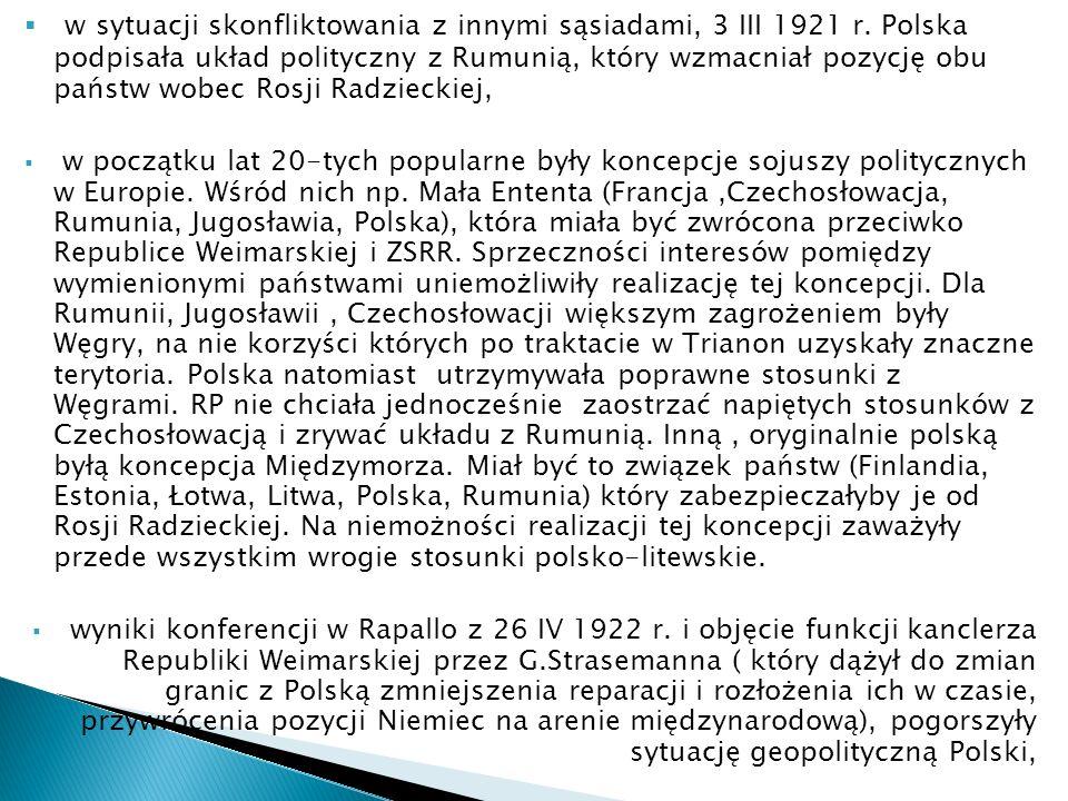 w sytuacji skonfliktowania z innymi sąsiadami, 3 III 1921 r