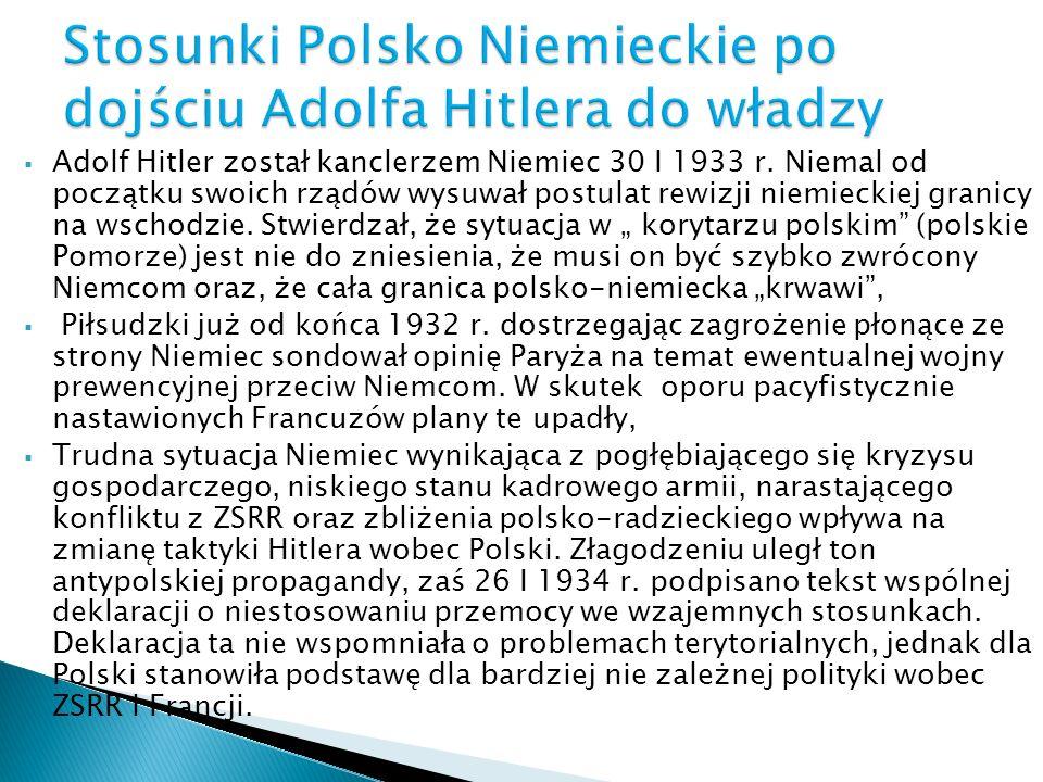 Stosunki Polsko Niemieckie po dojściu Adolfa Hitlera do władzy
