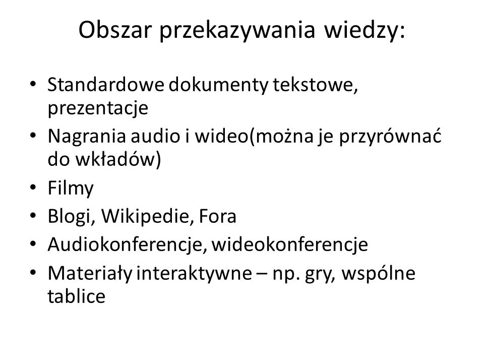 Obszar przekazywania wiedzy: