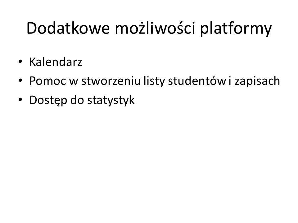 Dodatkowe możliwości platformy