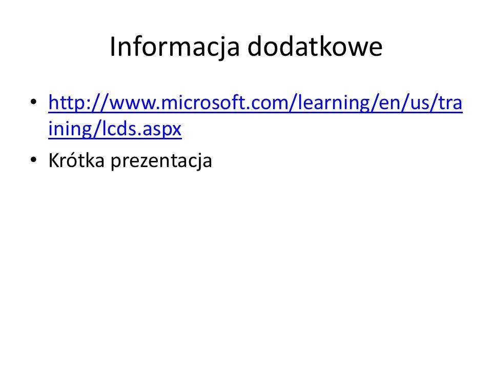 Informacja dodatkowe http://www.microsoft.com/learning/en/us/training/lcds.aspx Krótka prezentacja