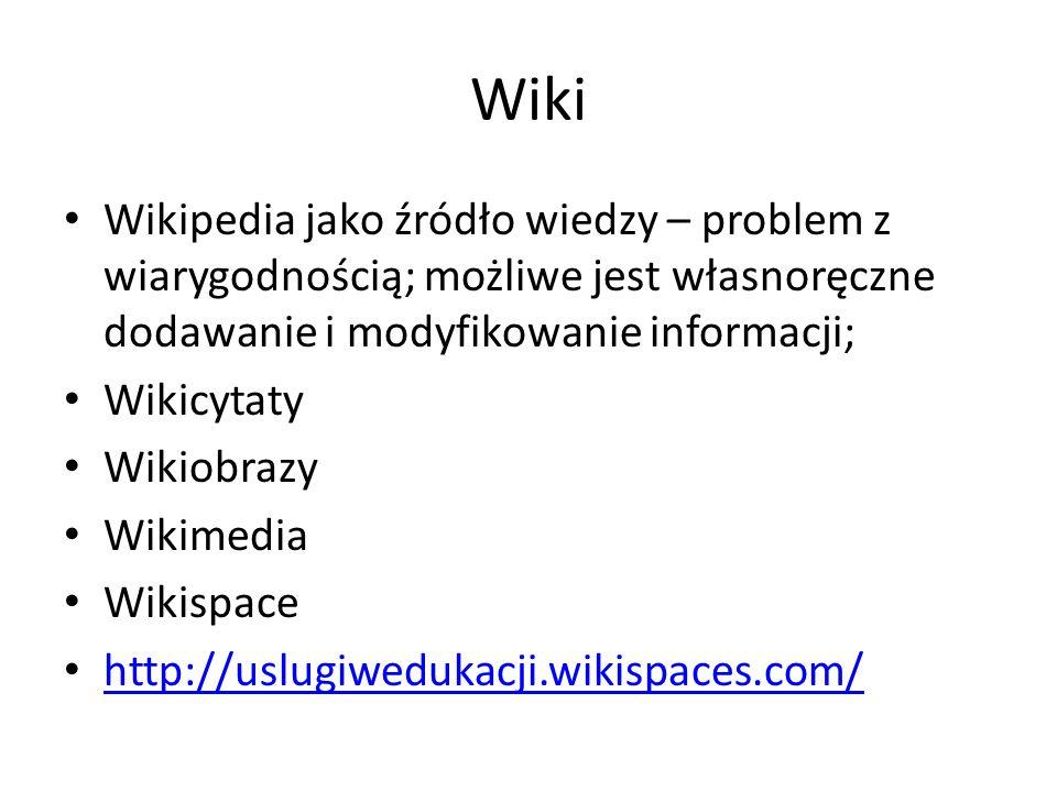 Wiki Wikipedia jako źródło wiedzy – problem z wiarygodnością; możliwe jest własnoręczne dodawanie i modyfikowanie informacji;