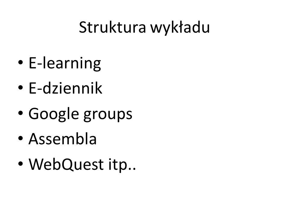 Struktura wykładu E-learning E-dziennik Google groups Assembla WebQuest itp..
