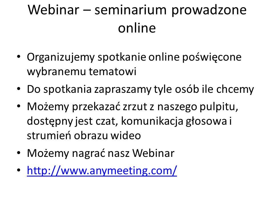 Webinar – seminarium prowadzone online