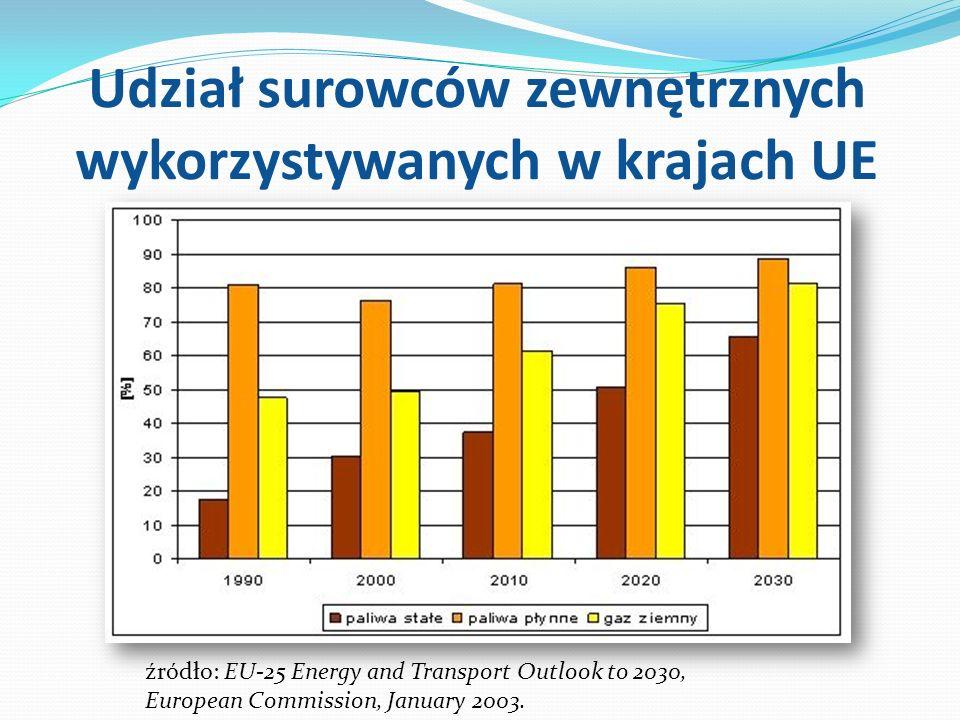 Udział surowców zewnętrznych wykorzystywanych w krajach UE