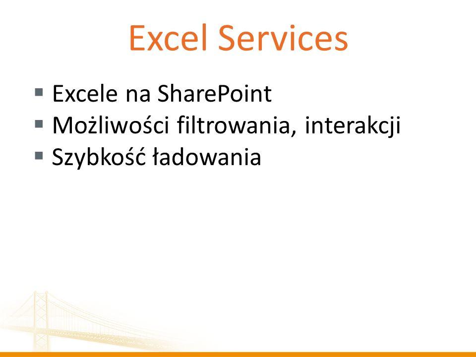 Excel Services Excele na SharePoint Możliwości filtrowania, interakcji
