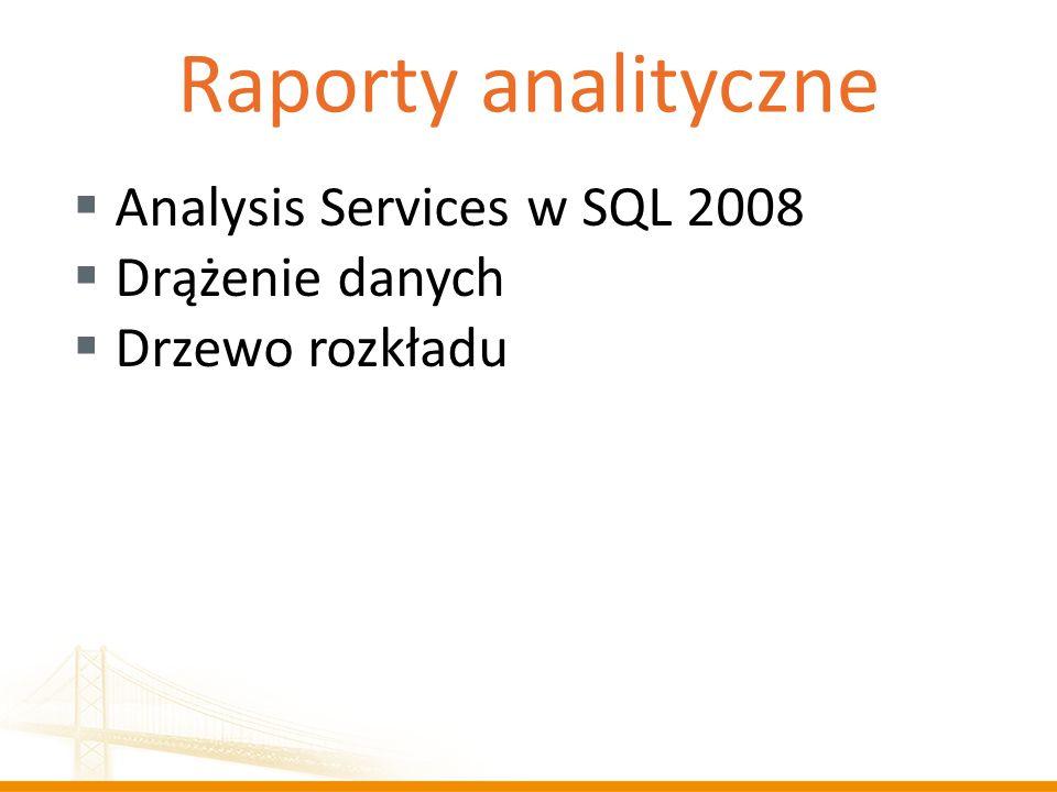 Raporty analityczne Analysis Services w SQL 2008 Drążenie danych