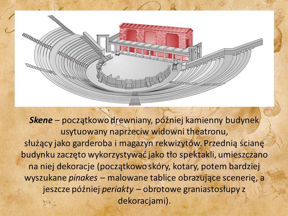 Skene – początkowo drewniany, później kamienny budynek usytuowany naprzeciw widowni theatronu, służący jako garderoba i magazyn rekwizytów.