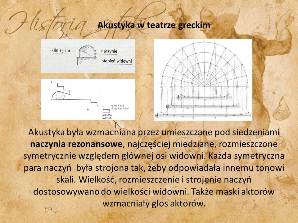 Akustyka w teatrze greckim Akustyka była wzmacniana przez umieszczane pod siedzeniami naczynia rezonansowe, najczęściej miedziane, rozmieszczone symetrycznie względem głównej osi widowni.