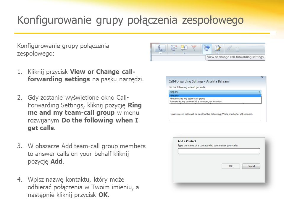 Konfigurowanie grupy połączenia zespołowego