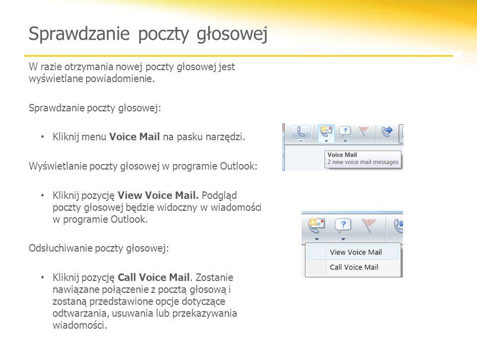 Sprawdzanie poczty głosowej