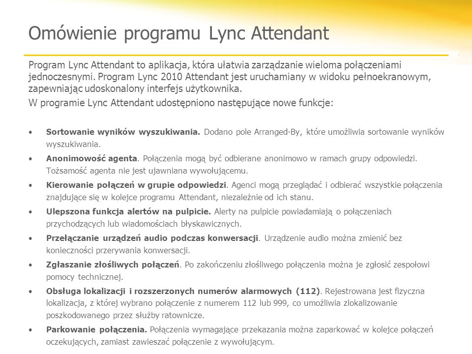 Omówienie programu Lync Attendant