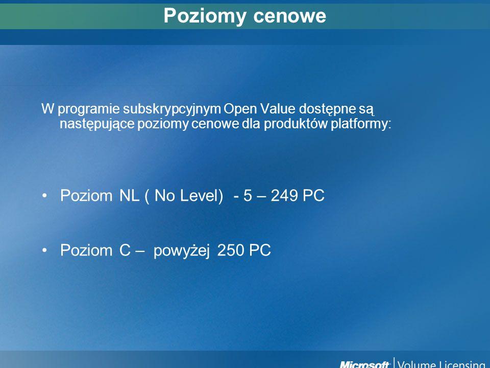 Poziomy cenowe Poziom NL ( No Level) - 5 – 249 PC