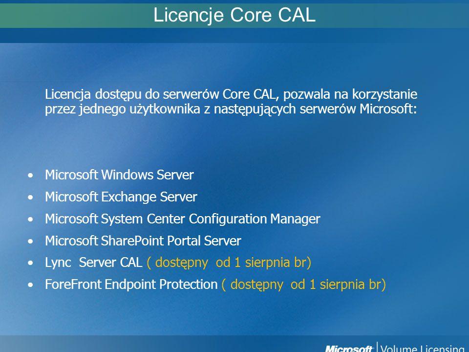 Licencje Core CAL Licencja dostępu do serwerów Core CAL, pozwala na korzystanie przez jednego użytkownika z następujących serwerów Microsoft: