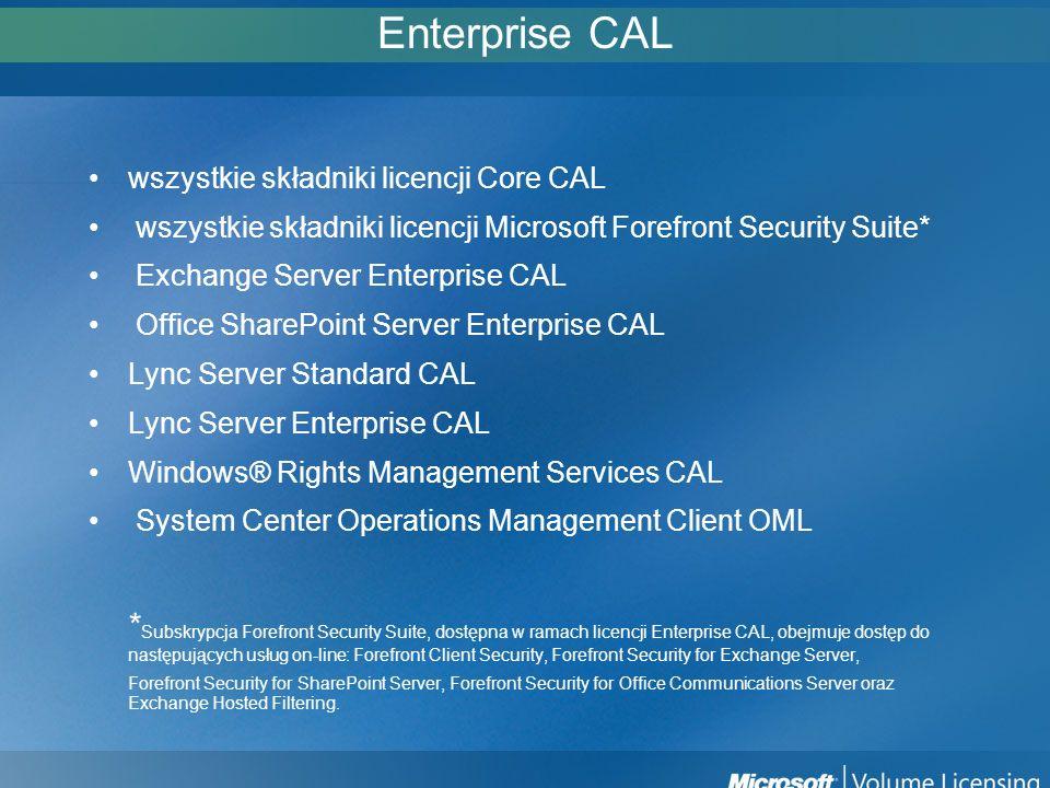 Enterprise CAL wszystkie składniki licencji Core CAL. wszystkie składniki licencji Microsoft Forefront Security Suite*