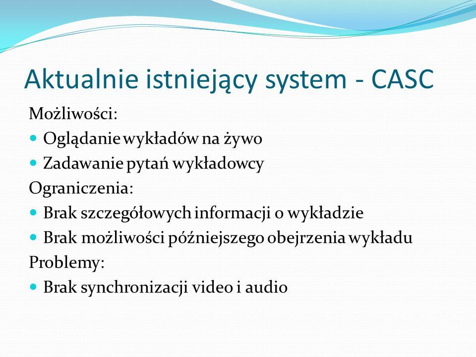 Aktualnie istniejący system - CASC