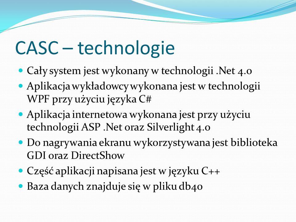 CASC – technologie Cały system jest wykonany w technologii .Net 4.0