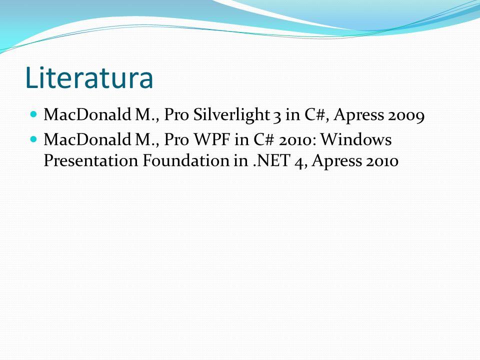Literatura MacDonald M., Pro Silverlight 3 in C#, Apress 2009