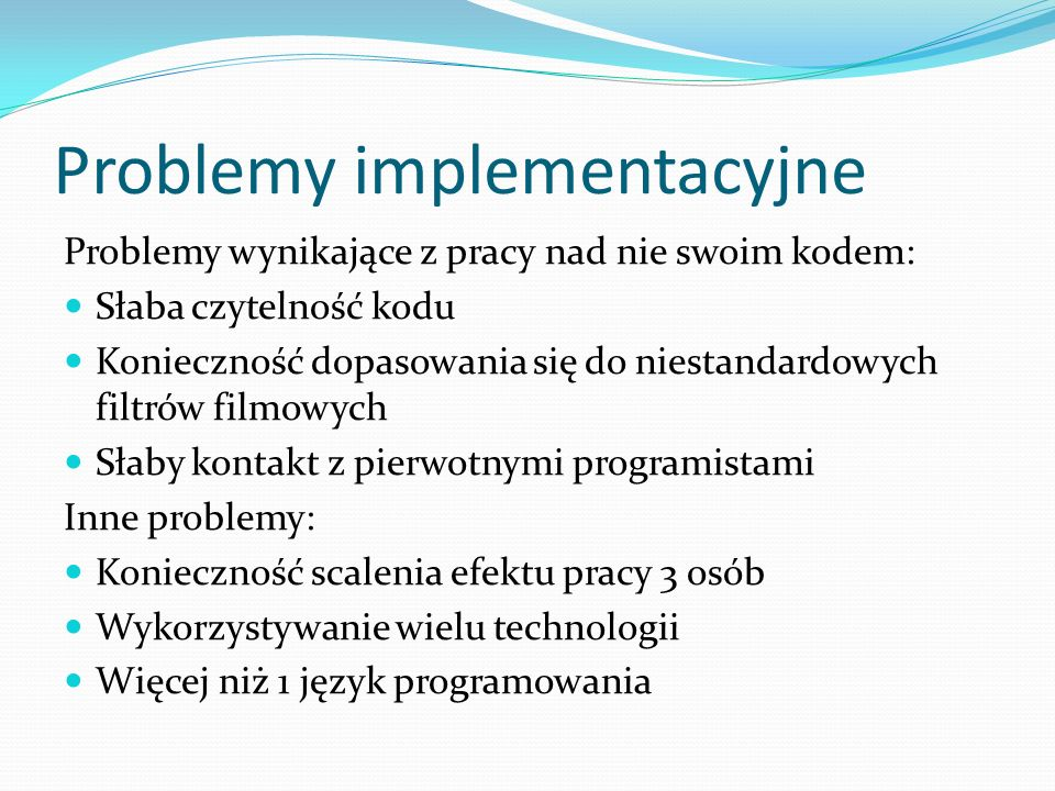 Problemy implementacyjne