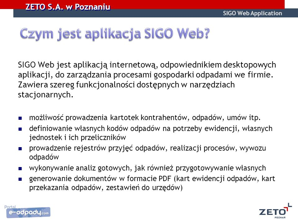 Czym jest aplikacja SIGO Web