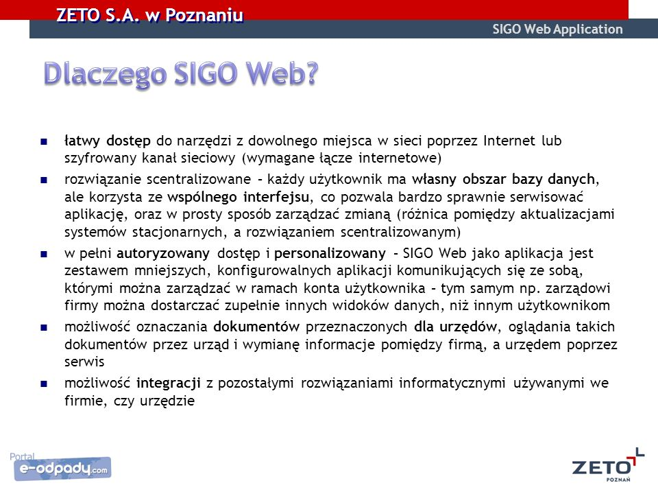 SIGO Web Application Dlaczego SIGO Web