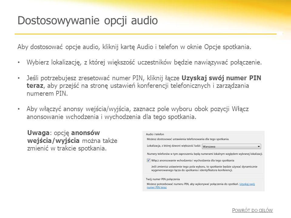 Dostosowywanie opcji audio